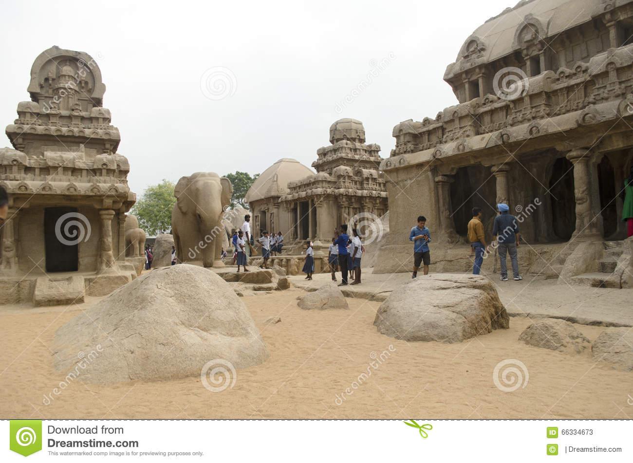 Five Rathas At Mahabalipuram, Tamil Nadu,India,Asia Editorial.