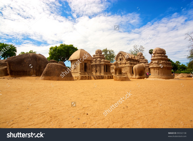 Five Ratha Temple In Mahabalipuram, Tamil Nadu, India Stock Photo.