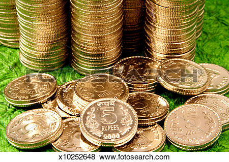 Pictures of Stack of five rupees coins, Studio shot x10252648.
