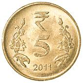 Stock Photo of 5 indian rupees coin k16206994.