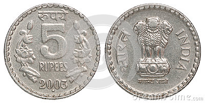 Indian Five Rupees Coin Stock Photography.