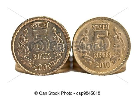 Pictures of Close up of Indian Coin 5 rupees isolated copy space.