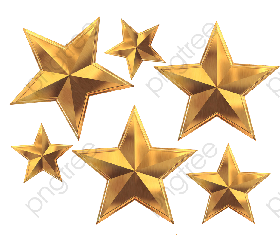 Gold Five Star, Star Clipart, Golden Color, Metallic Feel PNG.