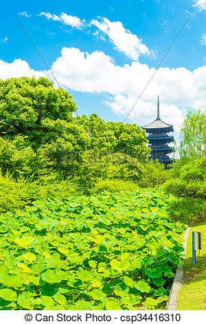 Stock Photography of Toji Five Story Pagoda Tower Lilypad Garden.