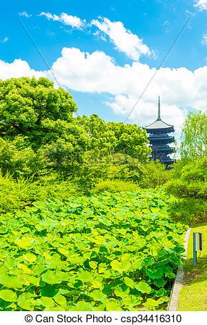 Stock Photography of Toji Five Story Pagoda Tower Lilypad Garden.