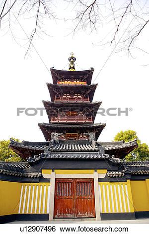 Stock Images of China, Suzhou, Hanshan Temple, Five storied pagoda.