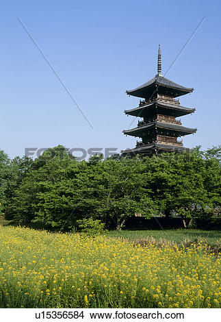 Stock Photo of Five Story Pagoda of Bitchu Kokubunji Temple, Soja.