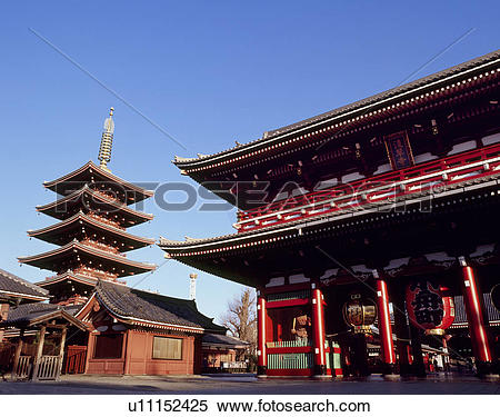 Stock Image of Hozomon and Five Story Pagoda of Sensoji Temple.