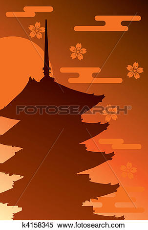 Clipart of Five Story Pagoda k4158345.
