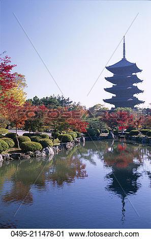 Stock Photography of Japan, Kyoto, Honshu, Toji Temple (Kyo.