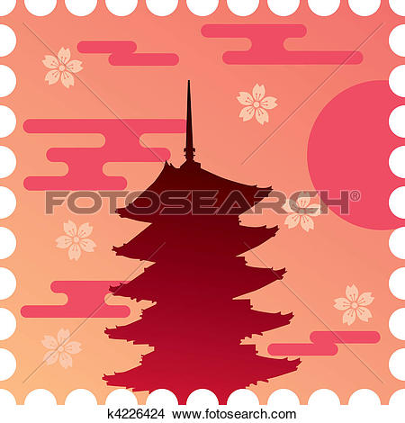 Clipart of Five Story Pagoda k4226424.