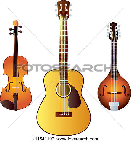 Clip Art of Western Stringed Instruments k11541197.