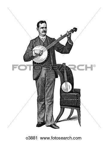Stock Photography of 1890S Man Standing Playing Five String Banjo.