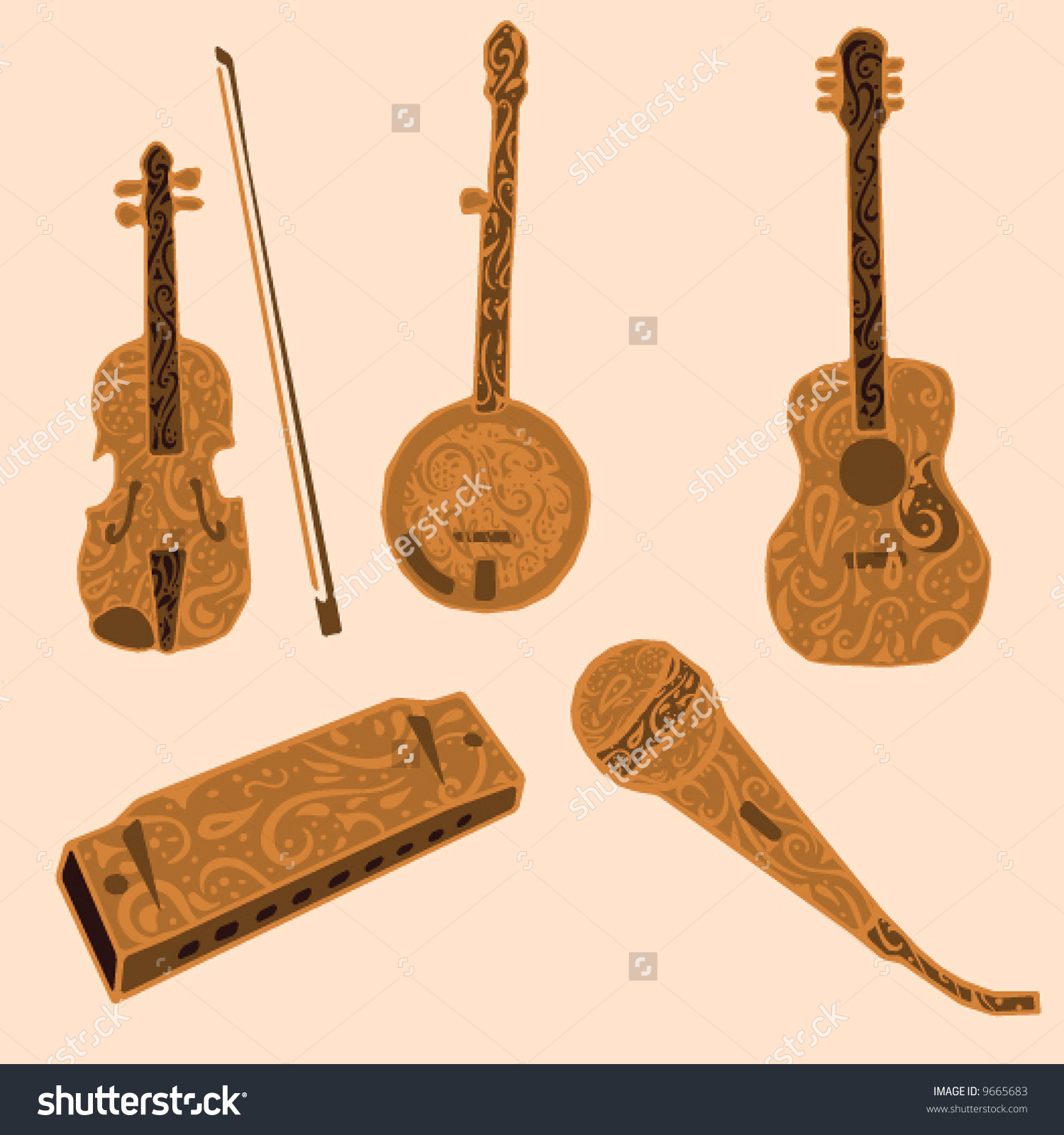 Five Musical Instruments Typically Associated Country Stock Vector.