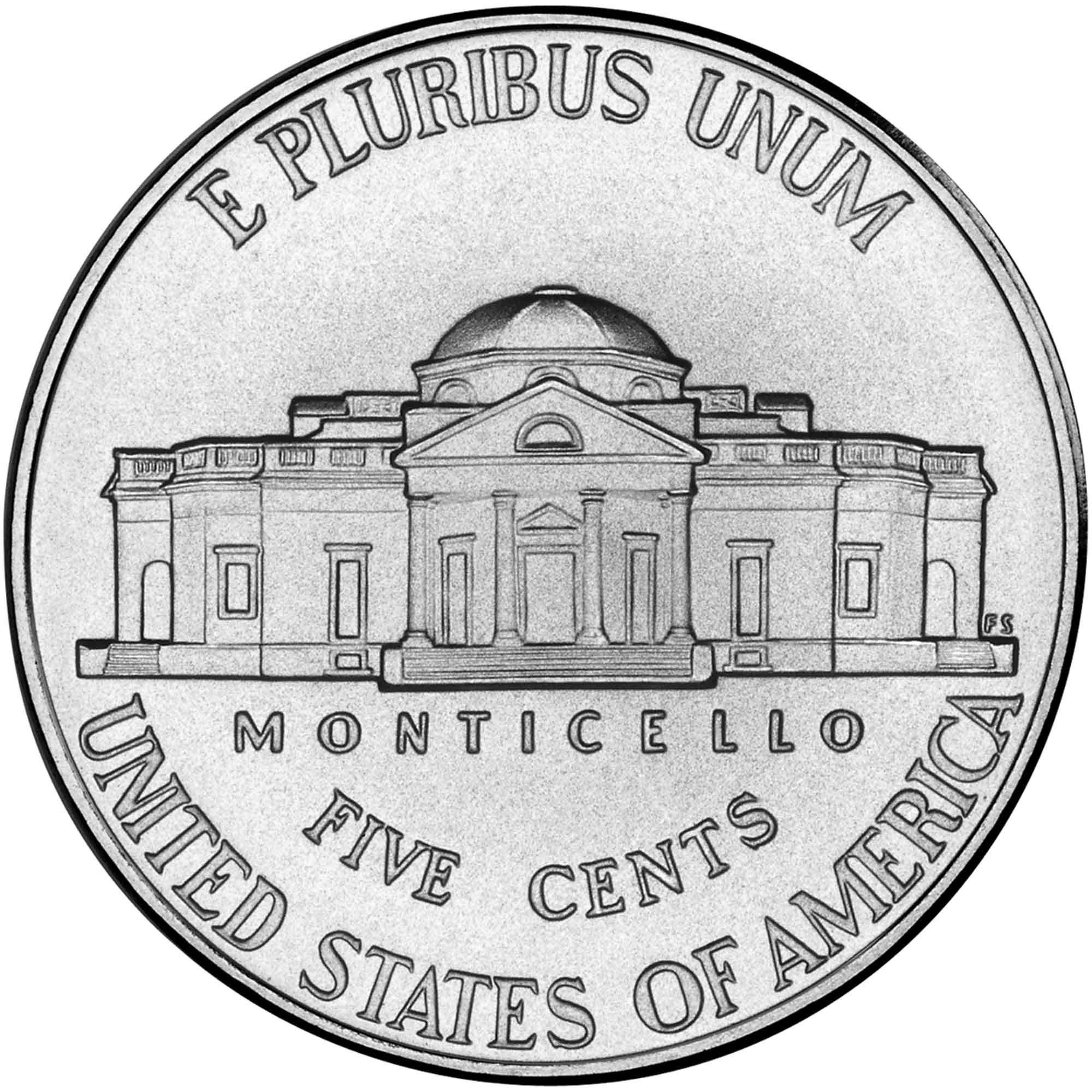 """5 Cents """"Jefferson Nickel"""" (2nd portrait, Return to Monticello."""