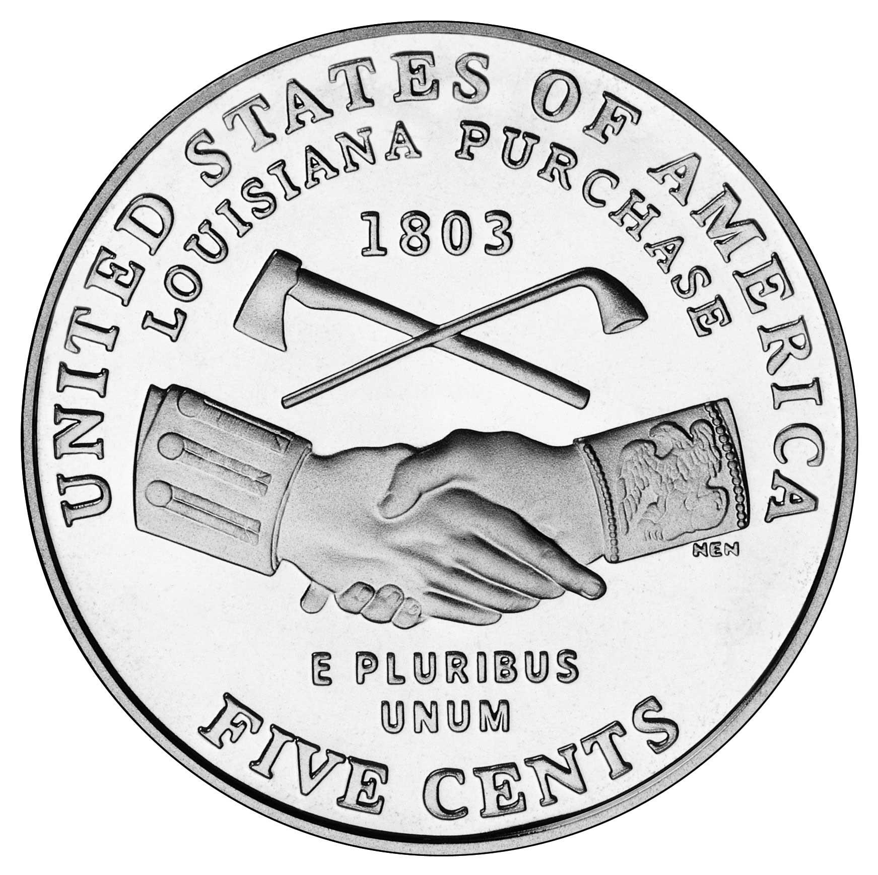"5 Cents ""Jefferson Nickel"" (Louisiana Purchase)."