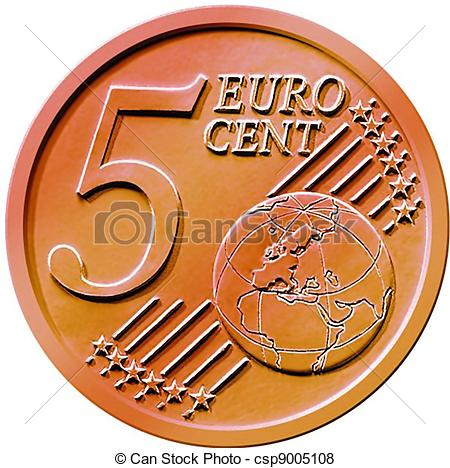 Stock Illustration of Five (5) Cent Euro Coin.