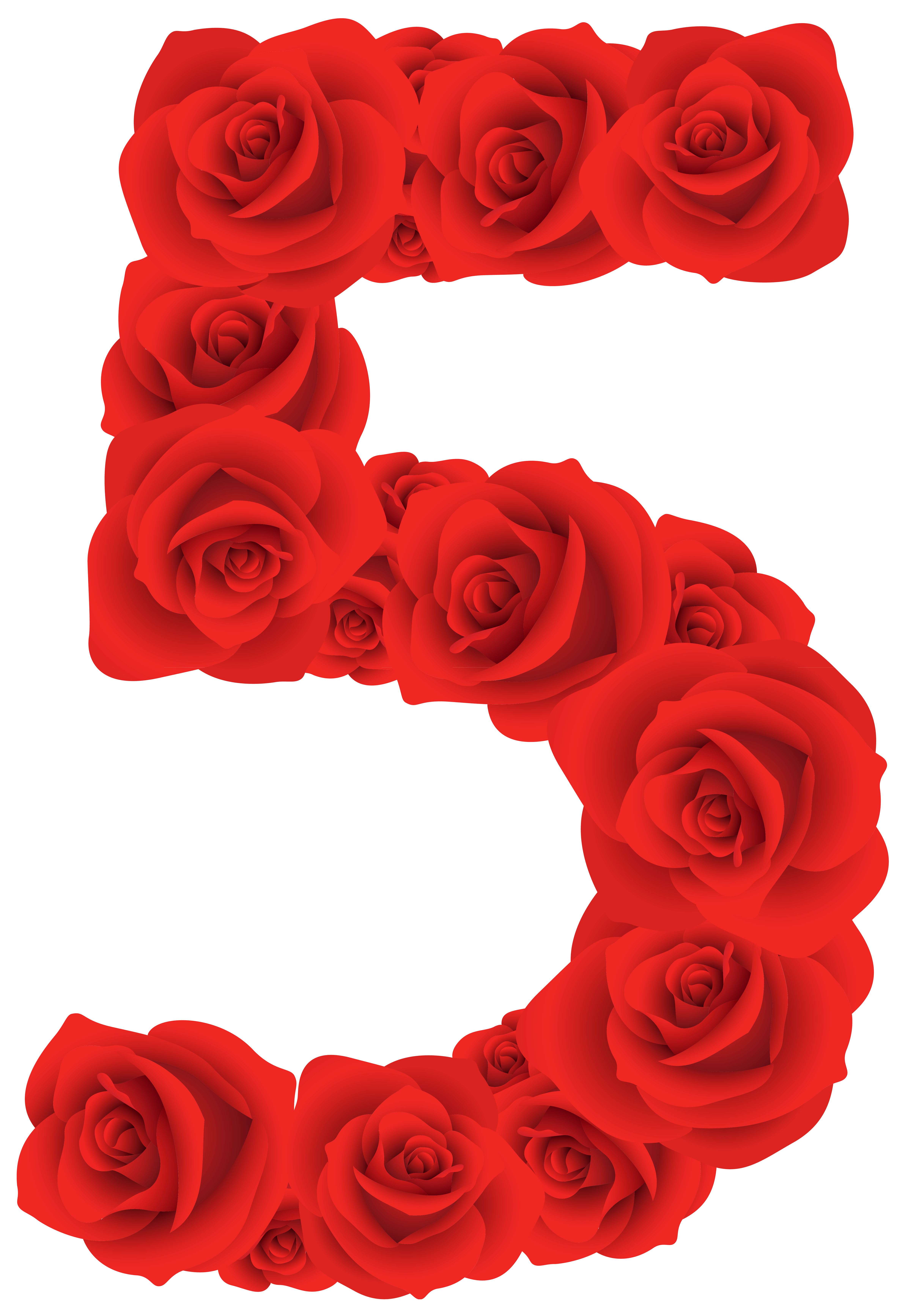 Red Roses Number Five PNG Clipart Image.