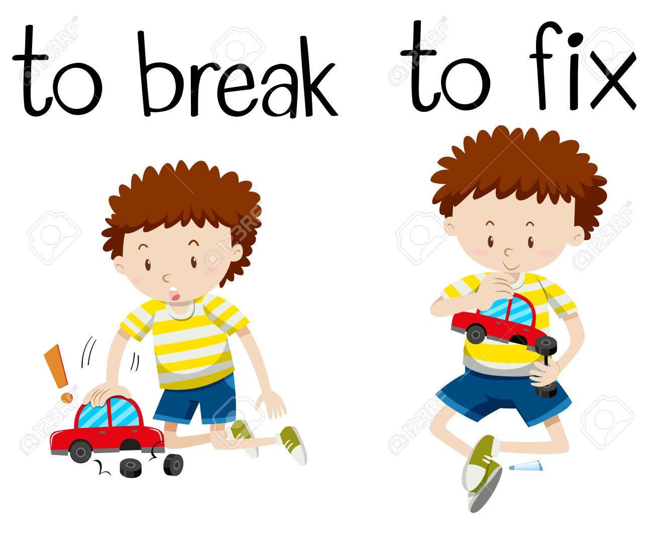 Opposite wordcard for break and fix illustration.