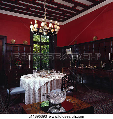 Stock Photo of traditional, interior, lighting, fixed, panelling.