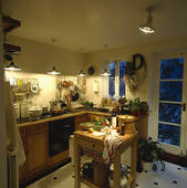 Pictures of lighting, interior, fixed, cookery, kitchens.