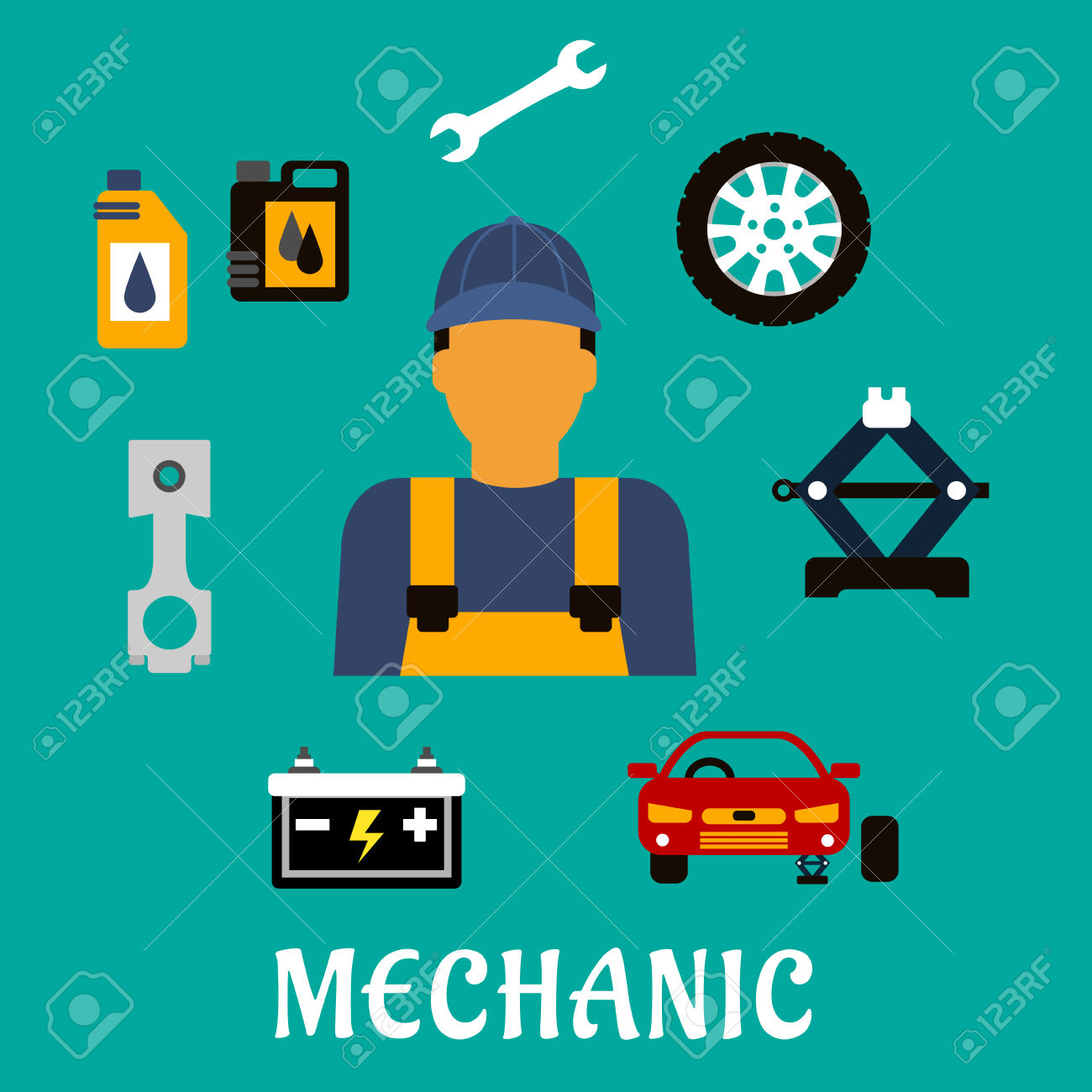 Mechanic Profession Flat Concept With Man In Uniform Overalls.