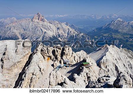 Stock Images of Rifugio Lorenzi mountain shelter and Forcella.
