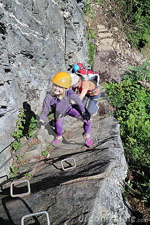 Girl Climbing In Austria Stock Photo.