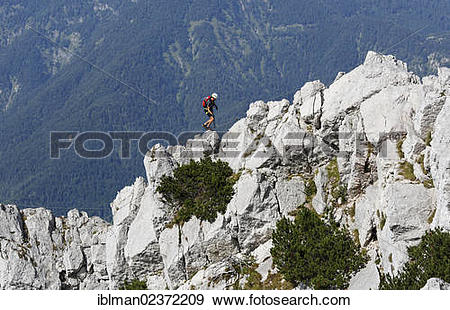 """Stock Photograph of """"Fixed rope route on Katrin mountain."""