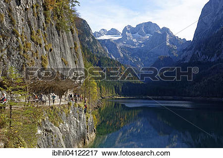 Picture of Vorderer Gosausee lake with fixed rope route, Dachstein.