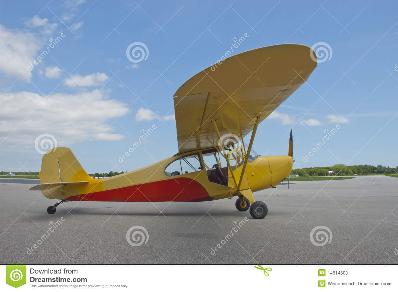 Small Engine Fixed Wing Aircraft Airplane Closeup Stock Photos.