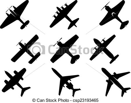 Clip Art Vector of Black aircraft silhouette icons.