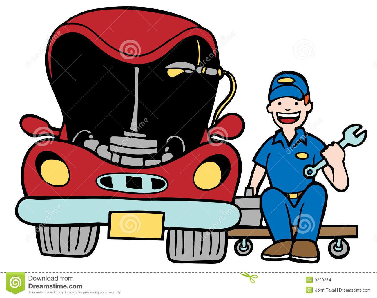 Fixing a car clipart.