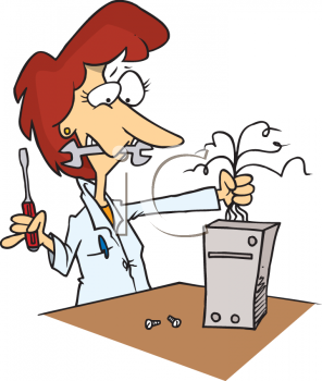 Royalty Free Clip Art Image: Female Computer Tech Fixing a Broken.