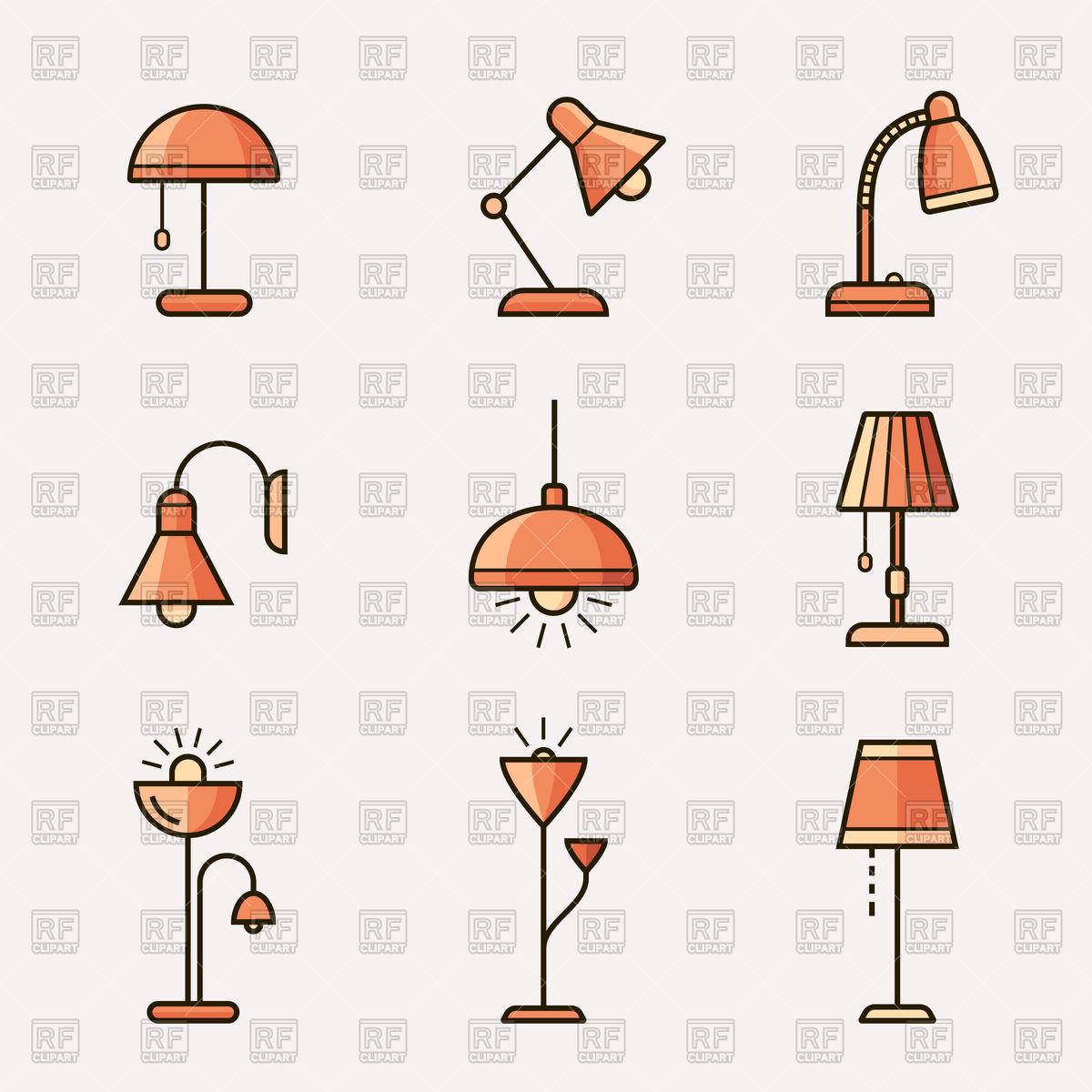 Light fixtures icon set.