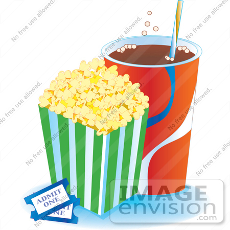 Clipart of a Container Of Buttered Popcorn With Fizzy Soda And Two.