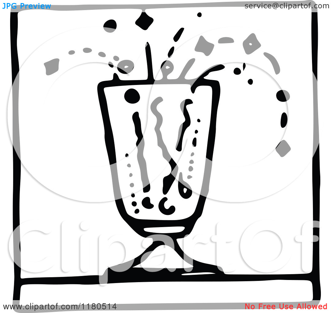 Clipart of a Black and White Fizzy Drink Icon.
