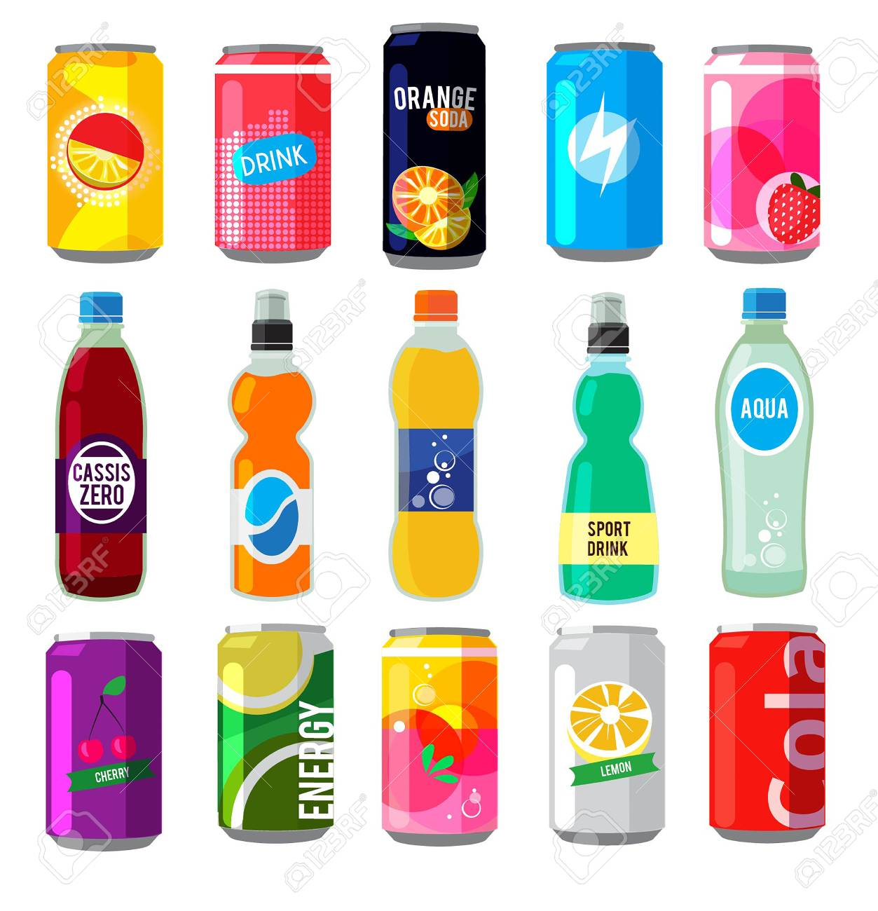 Fizzy drinks in glass bottles. Colored vector pictures.