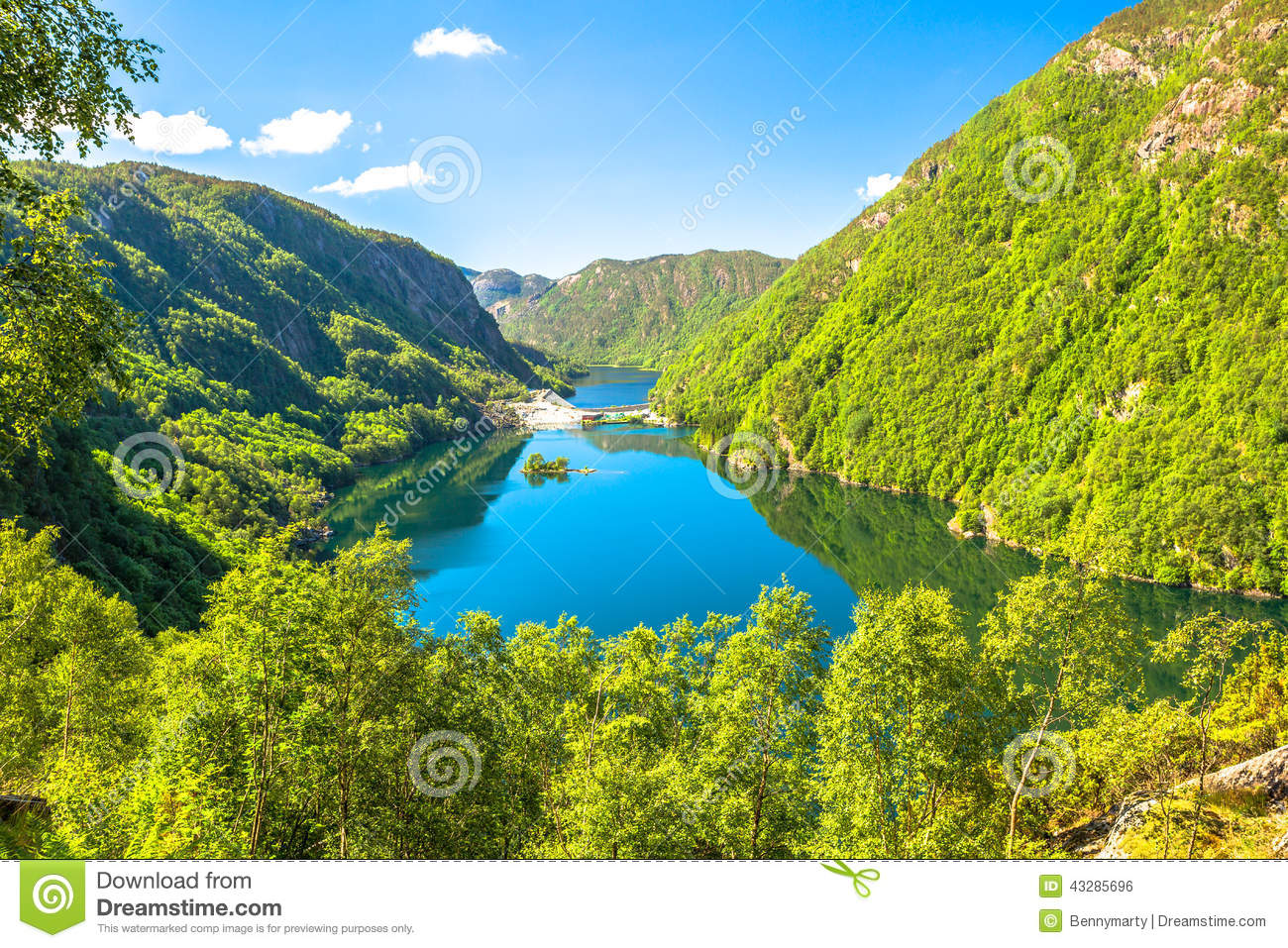 Green Fjords Of Norway Stock Photo.
