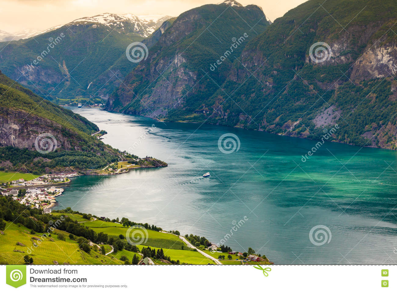 View Of The Fjords At Stegastein Viewpoint In Norway Stock Photo.