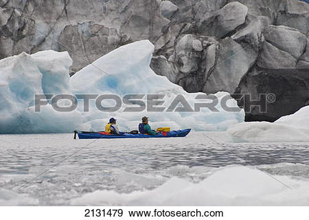 Stock Photograph of Sea Kayakers In Pedersen Lagoon With Pedersen.