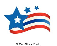 Clip Art Vector of 4th of July Cupcake with Flag and Hat.