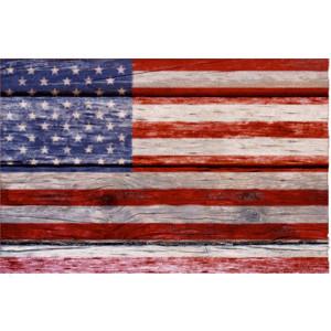 4th of July Clip Art Image: U.S. Flag on Wood (white).