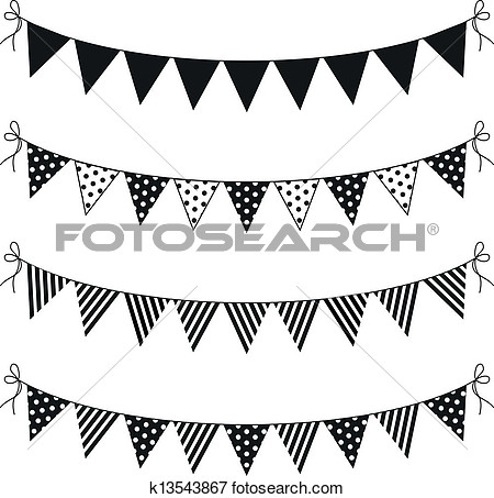 Flag Banner Black And White Clipart.