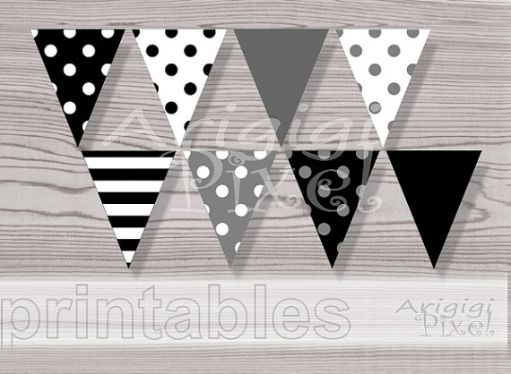 Flag Banner Clipart Black And White Polka Dot.