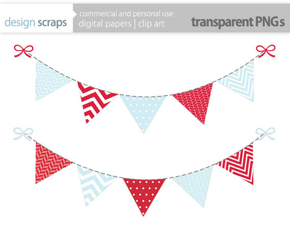 boy bunting banner clip art, flag banner digital clipart chevron.