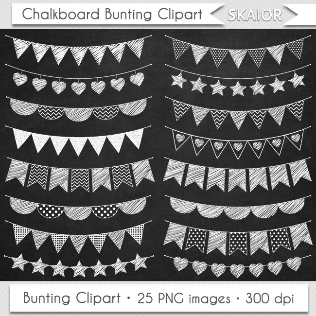 Chalkboard Bunting Clipart Flags Clipart Doodle Bunting Clipart.