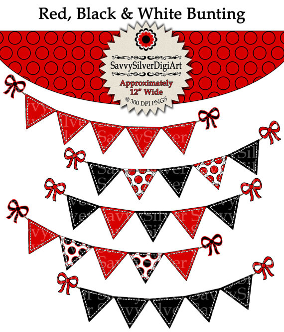 Red & Black Bunting Clipart.
