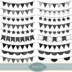 Chalkboard Bunting Banners doodle cliparts Digital Clip Art. Party.