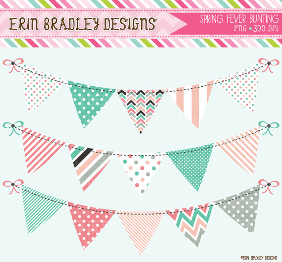 Spring Fever Bunting Clipart Clip Art Commercial Use Banner Flags.